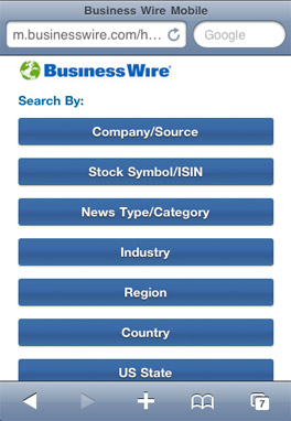 Screenshot of main Business Wire Mobile screen